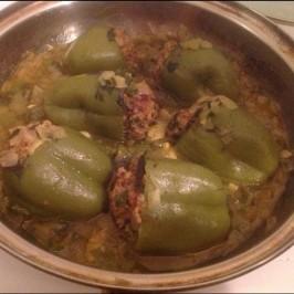 Pimientos verdes Rellenos con Carne picada