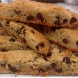 Barras de chispas de chocolate (Biscotti)