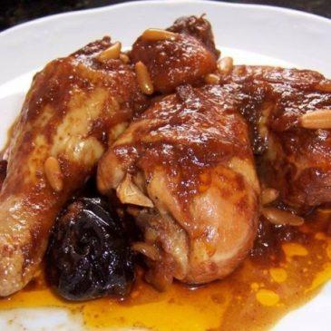 Pollo Horneado con Piñones y Ciruelas Pasas