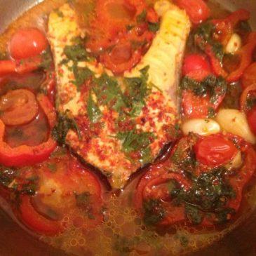 Salmón a la salsa roja