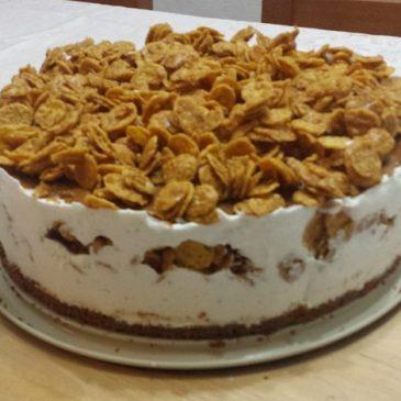 Pastel Helado con crema de caramelo y Corn Flakes